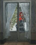 Красный платок, Портрет госпожи Моне, 1873 - Моне, Клод