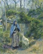 Пастушка и коза, 1881 - Писсарро, Камиль