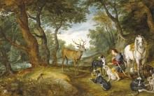 Видение Св. Губерта, 1615_1630 - Бреггель, Ян (Старший)
