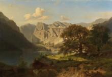 Пейзаж с горным озером и пастухами - Хвала, Адольф