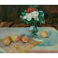 Натюрморт с букетом цветов и персиками - Ренуар, Пьер Огюст