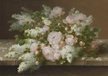 Розовые розы и сирень - Лонгпре, Пауль де
