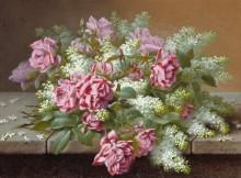 Натюрморт с розовыми розами и сиренью. - Лонгпре, Пауль де