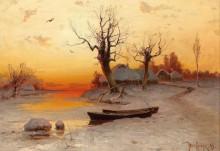 Зимний пейзаж в вечернем свете - Клевер, Юлиус Сергиус