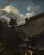 Пейзаж с освещенной солнцем крышей - Жерико, Теодор Жан Луи Андре