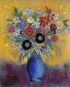 Цветы в голубой вазе - Редон, Одилон