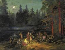 Цыгане на берегу реки, Ярославльская губерния - Коровин, Константин Алексеевич