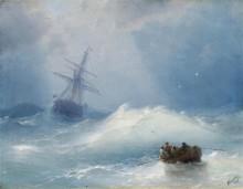 Морской пейзаж с парусным судном и лодкой в бурных волнах - Айвазовский, Иван Константинович