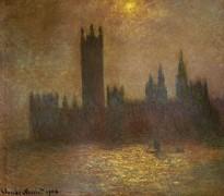 Здание Парламента в Лондоне, эффект солнца в тумане - Моне, Клод