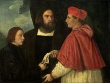 Джироламо и кардинал Марко делают дар Марко, аббату Каррарскому, и его приходу - Тициан Вечеллио