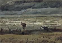 Пляж в Схевенингене в ненастную погоду (Beach at Scheveningen in Stormy Weather), 1882 - Гог, Винсент ван
