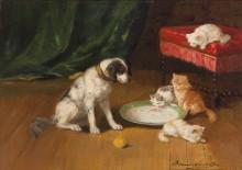 Пес и котята - Брюнель де Нёвиль, Альфред-Артюр