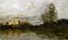 Речной пейзаж, закат - Добиньи, Шарль-Франсуа