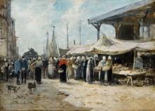 Трувиль, рыбный рынок, 1875 - Буден, Эжен