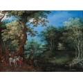 Лесной пейзаж с повозкой и лошадьми - Брейгель, Ян (Старший)
