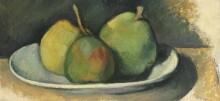 Груши в белой тарелке - Сезанн, Поль