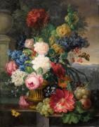 Бабочки, цветы и фрукты на фоне пейзажа - Нигг, Йозеф