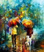 Прогулка с собаками под дождем - Афремов, Леонид