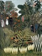 Тропический пейзаж с обезьянами и попугаем - Руссо, Анри
