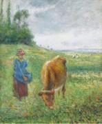 Пастушка с коровой, Кот-де-Гроте, Понтуаз, 1882 - Писсарро, Камиль