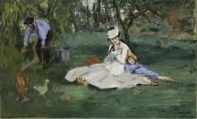 Семейство Моне в своем саду в Аржантее - Мане, Эдуард