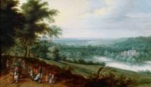 Пейзаж с путниками и танцующими крестьянами - Брейгель, Ян (младший)