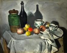 Кувшин, бутылка, чашки и фрукты - Сезанн, Поль