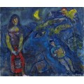 Сценка в деревне с голубым животным - Шагал, Марк Захарович