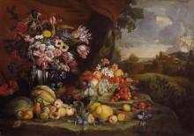 Натюрморт с фруктами на фоне пейзажа - Брейгель, Абрахам