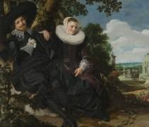 Семейный портрет Исаака Массы и его жены на фоне пейзажа - Халс, Франс