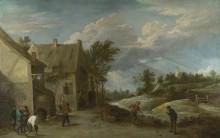 Крестьяне играющие за пределами деревни -  Тенирс, Давид