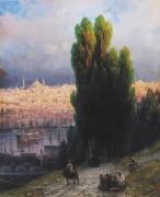 Пейзаж в Константинополе с автопортретом за работой - Айвазовский, Иван Константинович