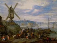 Морской порт с мельницей - Брейгель, Ян (Старший)