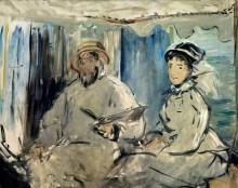 Моне с женой Камиллой в его плавучей мастерской - Моне, Клод