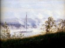 Лодка на Эльбе, утром в тумане, 1825 - Фридрих, Каспар Давид