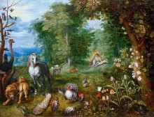 Райский пейзаж с сотворением Евы - Брейгель, Ян (младший)