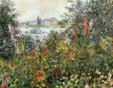 Вид на Ветей из цветника - Моне, Клод