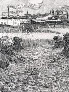 Пшеничное поле со снопами и Арлем на заднем плане (Wheat Field with Sheaves and Arles in the Background), 1888 - Гог, Винсент ван