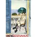 Женщина с зеленым зонтиком на балконе - Матисс, Анри