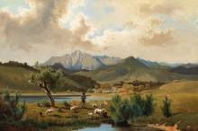 Пастух с овцами у озера - Хлавачек, Антон