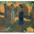 Три таитянки на желтом фоне - Гоген, Поль