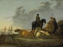 Крестьяне и крупный рогатый скот на берегу реки Мервед - Кейп, Альберт Якобз