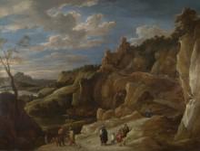 Циганка на фоне холмистого пейзажа -  Тенирс, Давид