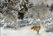 Лиса в зимнем пейзаже - Лильефорс, Бруно