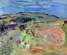 Пейзаж с пшеничным полем и волами - Дюфи, Рауль