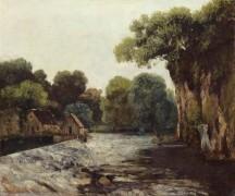 Пейзаж с мельницей и плотиной - Курбе, Гюстав