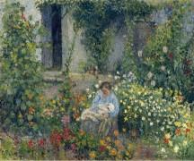 Джули и Людовик-Рудольф Писсарро в  цветах, 1879 - Писсарро, Камиль