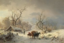Зимний пейзаж с лошадьми и повозкой - Мунте, Людвиг