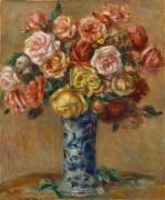 Букет роз в фарфоровой вазе - Ренуар, Пьер Огюст