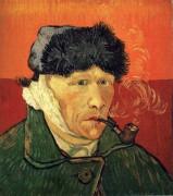 Автопортрет с перевязанным ухом и трубкой (Self Portrait with Bandaged Ear and Pipe), 1889 - Гог, Винсент ван
